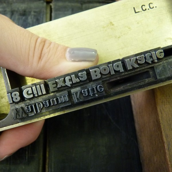 2 lines of type in the composing stick