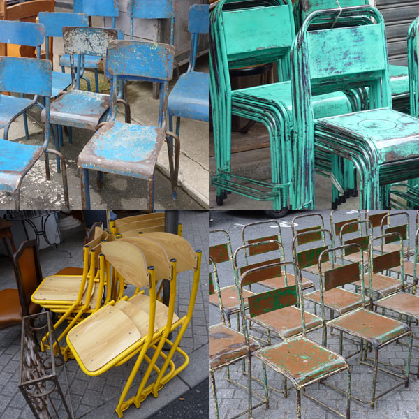 chairs at paris flea market