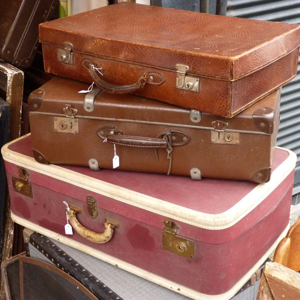 suitcases at paris flea market