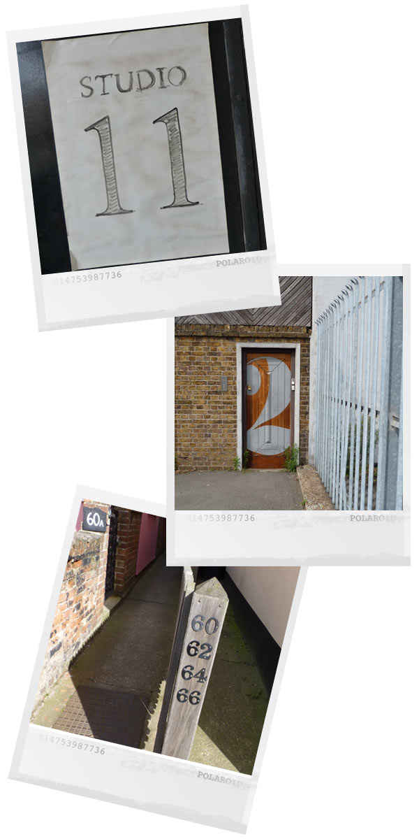 polaroid style photos of a hand drawn 11, a 2 that covers a whole door and a post with four house numbers on it