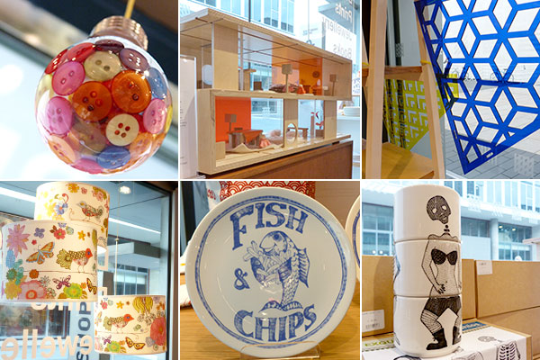 bulb filled with buttons, dolls' house coffee table, CMY, lampshades, fish and chips place and exquisite cups