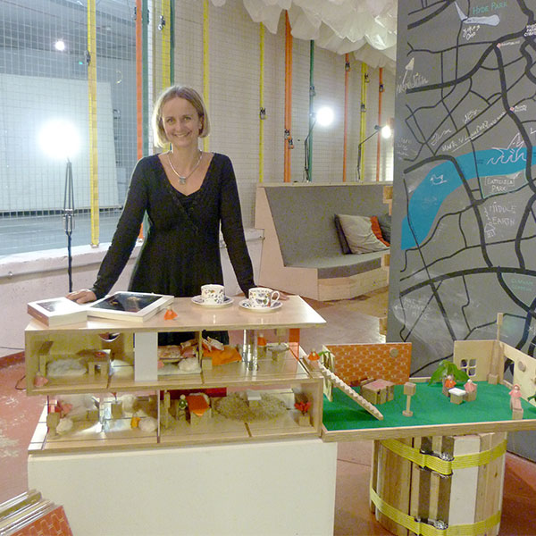 Amy Whitworth and her dolls' house coffee table