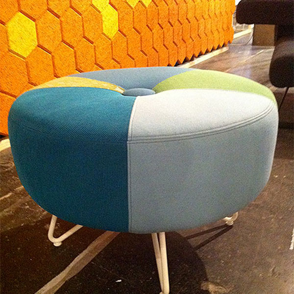 Botton shaped stool made from triangular fabric offcuts
