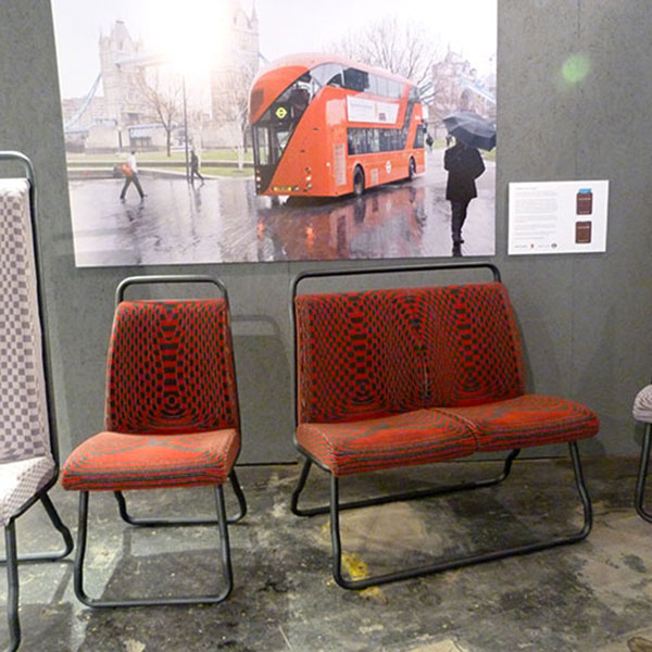 Chair and sofa inspired by London Bus