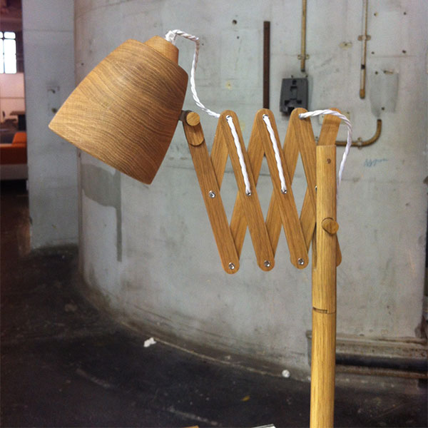 wooden light with extendable arm