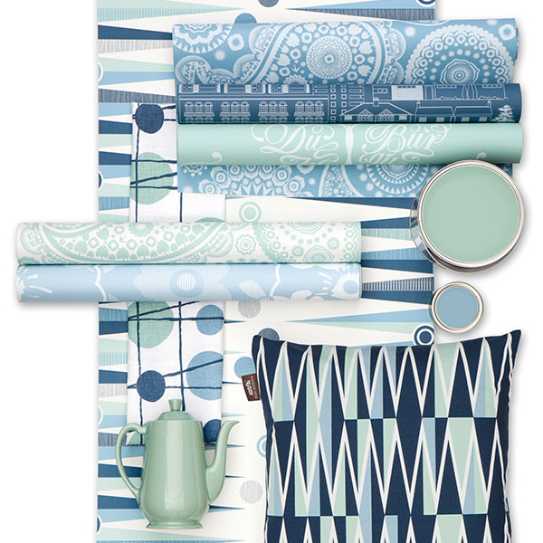 Mini Moderns selection of blue and green products