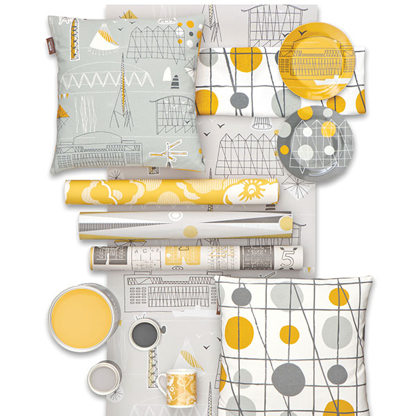 Mini Moderns Festival Print (amongst others) in yellow and grey