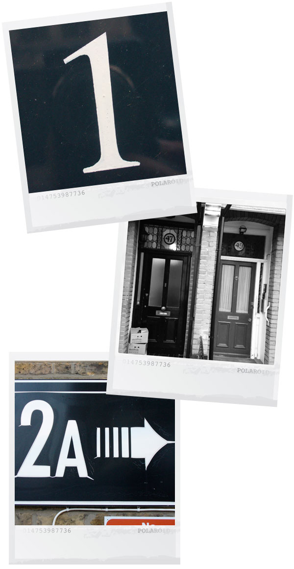 three polaroid style photos of numbers