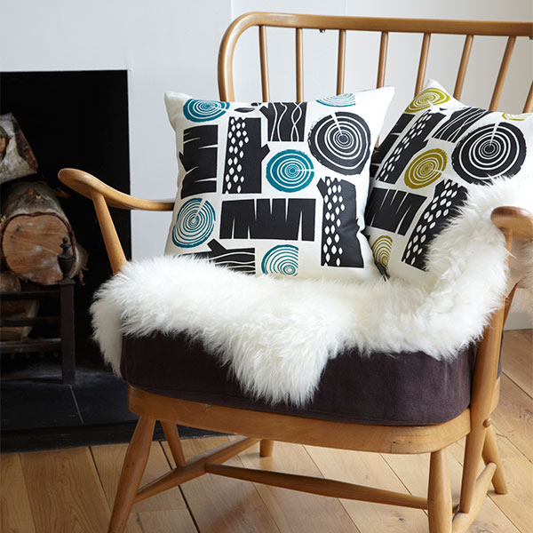 Roddy & Ginger logpile olive teal cushions