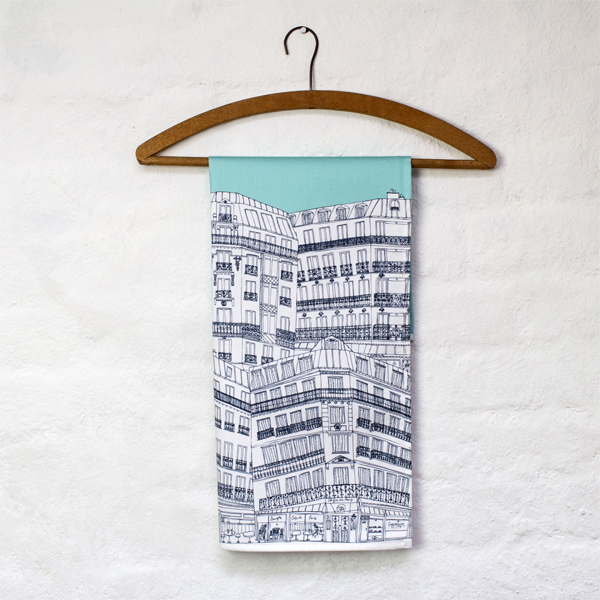 Jessica Hogarth Downtown Paris tea towel peppermint