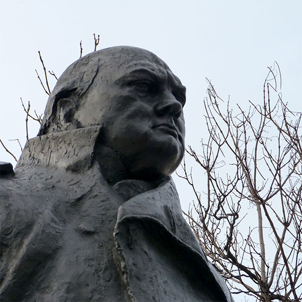 Churchill statue, North bank, London, 26miles